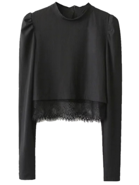 unique Lace Panel Stand Collar Cropped Top - BLACK M Mobile