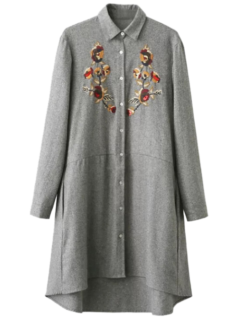 sale Embroidered Long Sleeve Tunic Shirt Dress - GRAY S Mobile