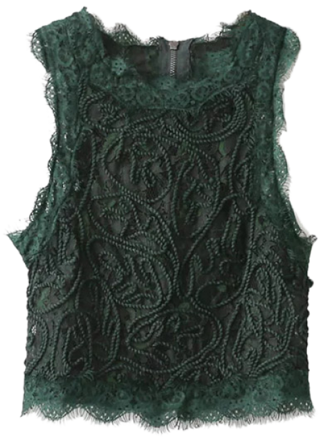 new Frayed Lace Scalloped Cropped Tank Top - BLACKISH GREEN L Mobile