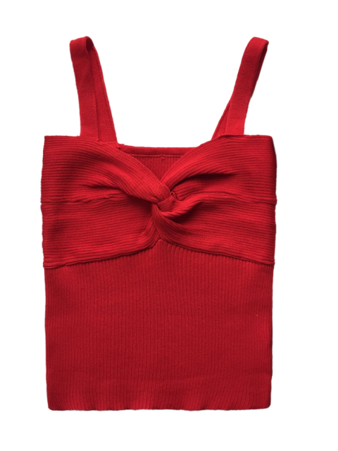 online Front Twist Ribbed Tank Knitwear - RED ONE SIZE Mobile