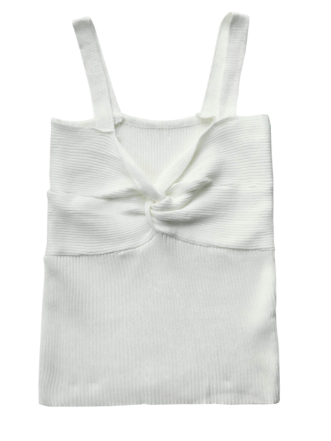 hot Front Twist Ribbed Tank Knitwear - WHITE ONE SIZE Mobile