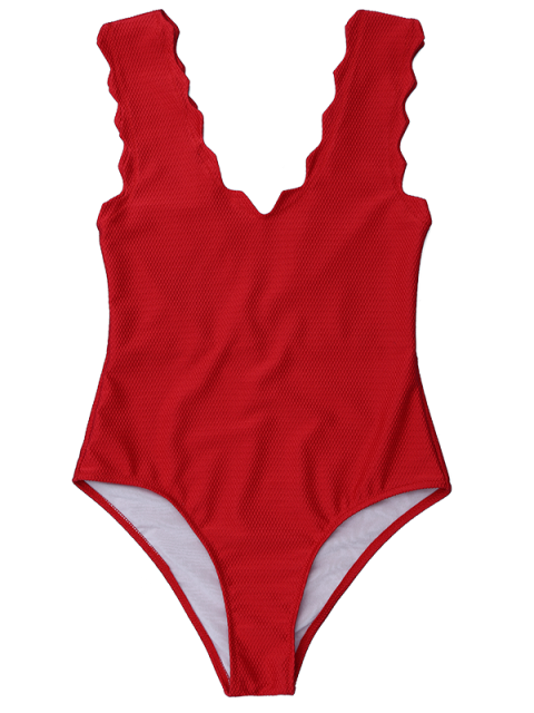 new V Neck Scalloped One Piece Swimwear - DEEP RED L Mobile