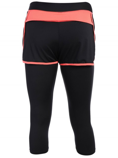 unique Tight Fit Capri Leggings With Shorts - BLACK AND ORANGE L Mobile