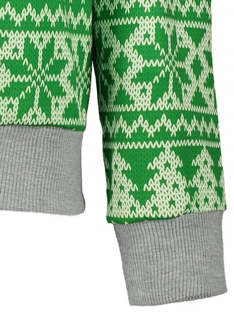 shop Snowflake Patterned Sweatshirt - GREEN XL Mobile