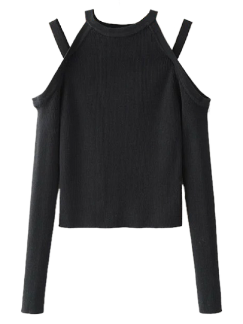 outfits Banded Cold Shoulder Knitted Top - BLACK S Mobile