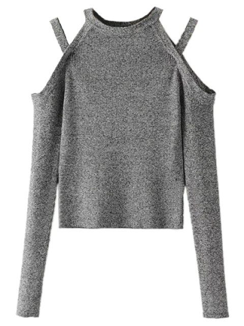 hot Banded Cold Shoulder Knitted Top - GRAY S Mobile