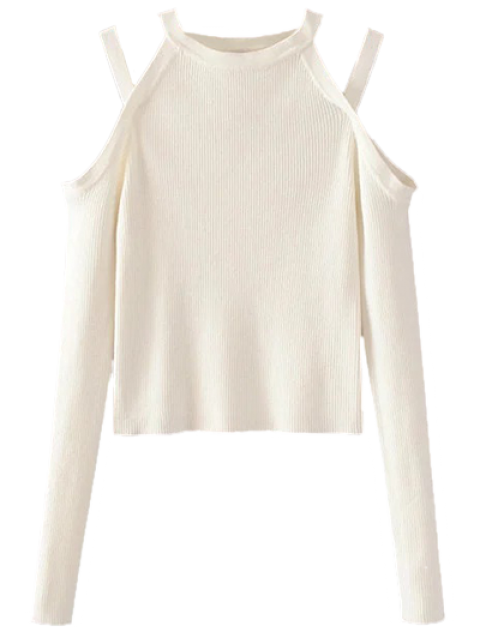 best Banded Cold Shoulder Knitted Top - WHITE M Mobile