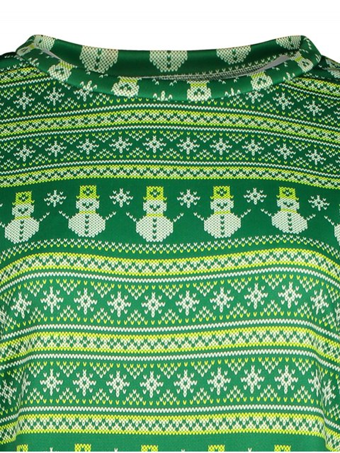 fancy Snowman Patterned Sweatshirt - GREEN M Mobile