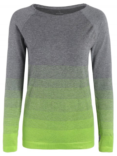 women's Long Sleeved Ombre Sports Tee - NEON GREEN L Mobile