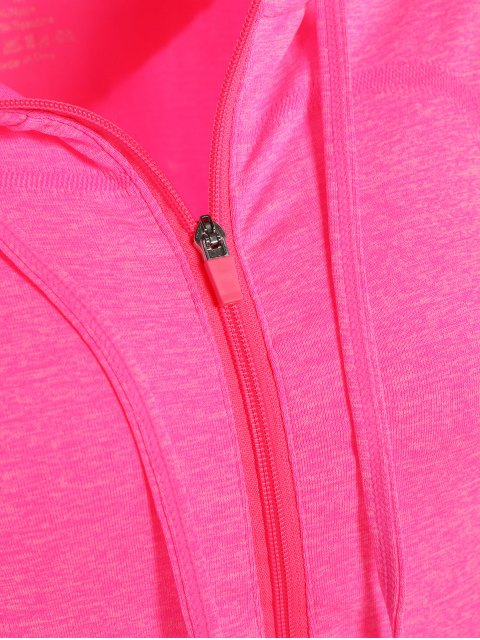 buy Marlled Hooded Active Sweat Jacket - ROSE RED S Mobile