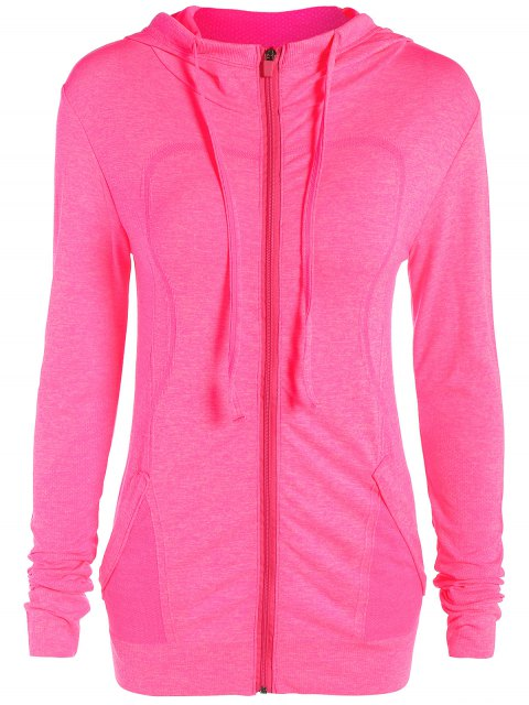 affordable Marlled Hooded Active Sweat Jacket - ROSE RED M Mobile