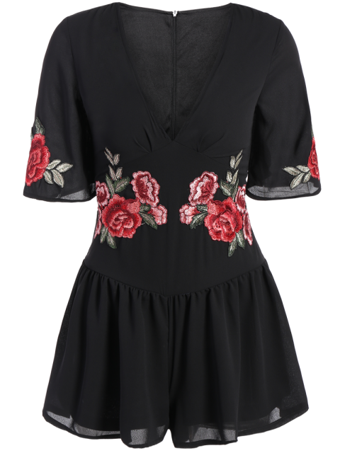 unique Fitting Floral Embroidered Romper - BLACK S Mobile
