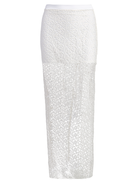 fancy Long Lace Slit Skirt - WHITE L Mobile