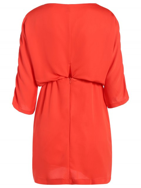 unique Drawstring Sleeve Waist Slimming Dress - ORANGE RED 2XL Mobile