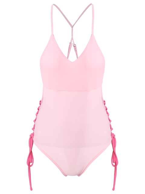 womens High CutLace-Up  One-Piece Swimwear - PINK M Mobile