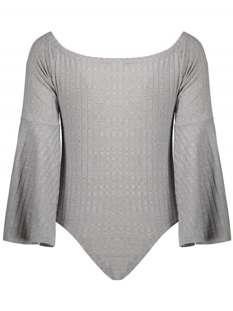 fashion Off The Shoulder Flare Sleeve Bodysuit - GRAY M Mobile