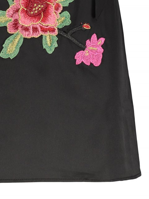 women's Mini Floral Embroidered Slip Dress - BLACK M Mobile