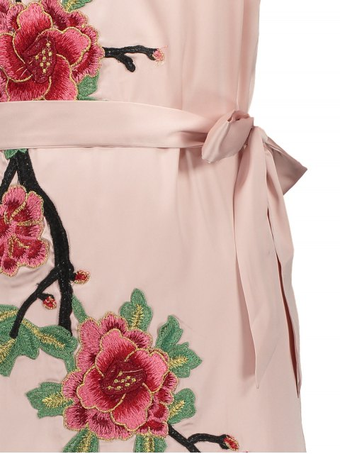 best Mini Floral Embroidered Slip Dress - SHALLOW PINK M Mobile
