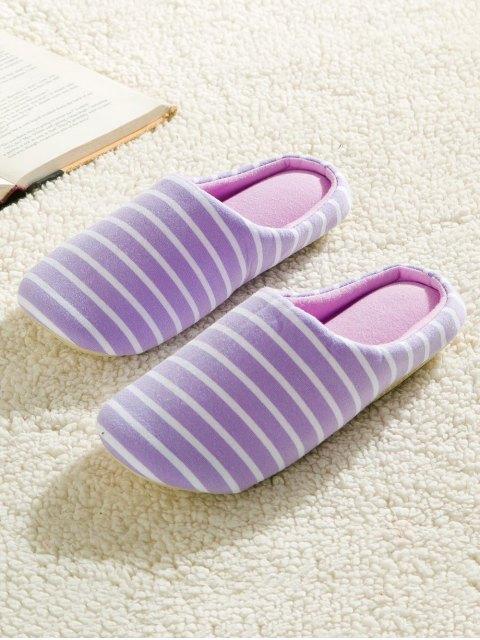 latest Color Block Flat Heel Stripe House Slippers - PURPLE 38 Mobile