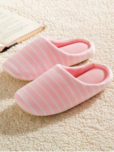 trendy Color Block Flat Heel Stripe House Slippers - PINK 39 Mobile