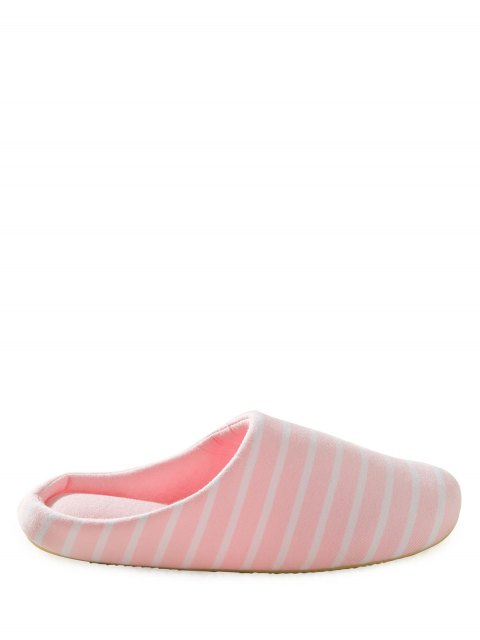 fashion Color Block Flat Heel Stripe House Slippers - PINK 37 Mobile