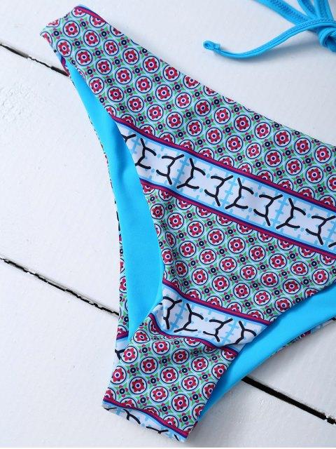 shops Printed Macrame Bikini Set - BLUE L Mobile