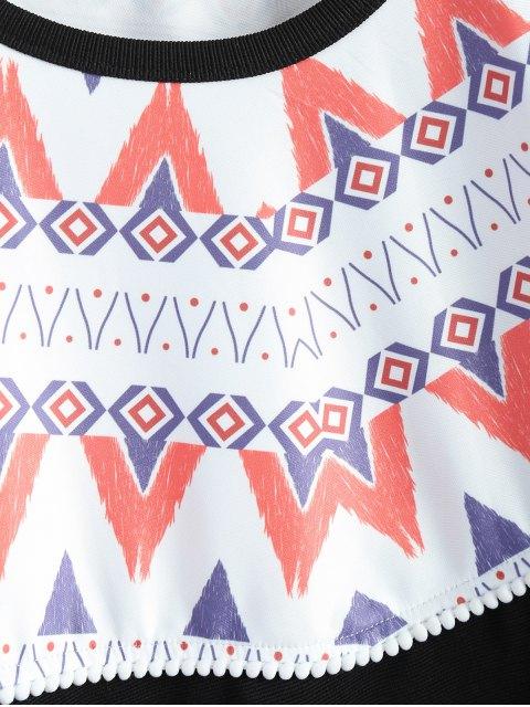 hot Oversized Geometric Print T-Shirt - BLACK L Mobile