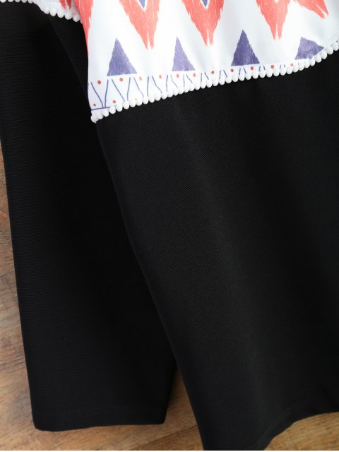 outfits Oversized Geometric Print T-Shirt - BLACK S Mobile
