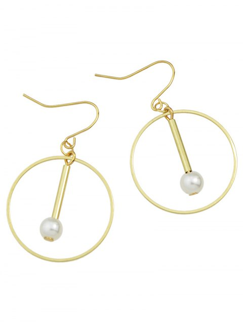 latest Faux Pearl Circle Drop Earrings - GOLDEN  Mobile