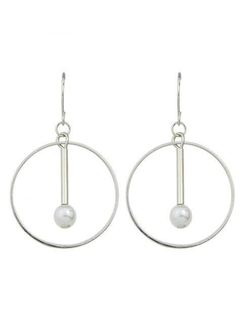 trendy Faux Pearl Circle Drop Earrings -   Mobile