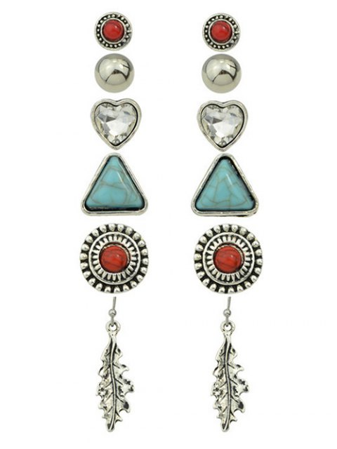 fashion Faux Turquoise Rhinestone Heart Earring Set - SILVER  Mobile