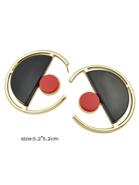 chic Geometric Vintage Round Earrings - GOLDEN  Mobile
