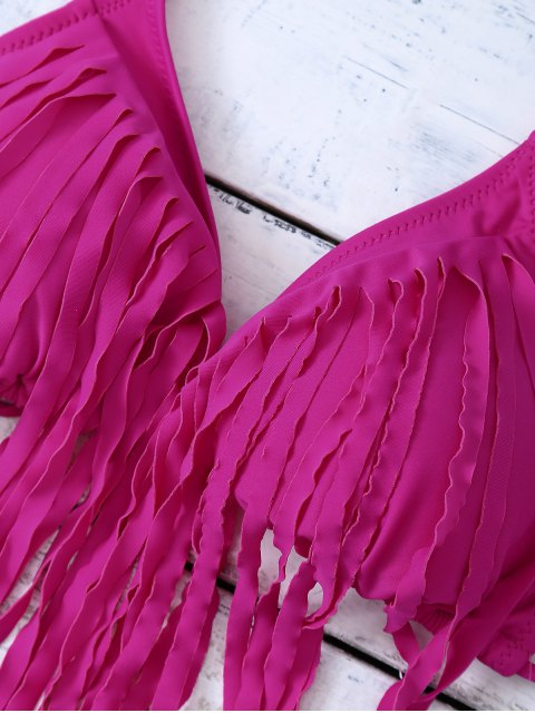 sale Fringed Halter Side Knot Bikini Set - TUTTI FRUTTI M Mobile