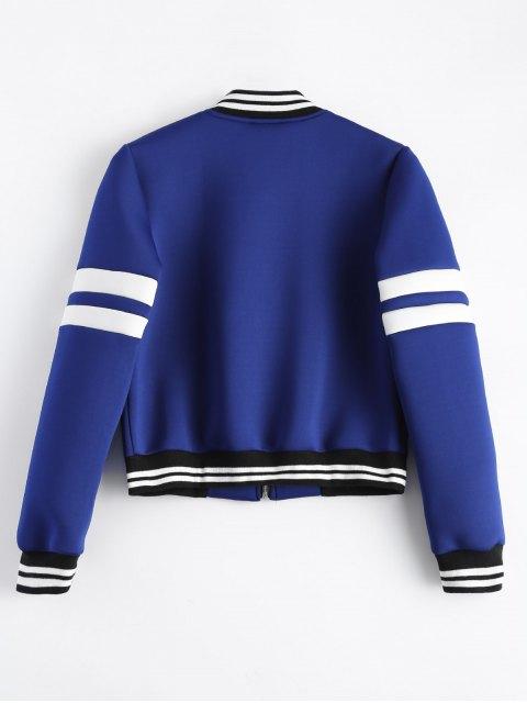 new Striped Sleeve Bomber Jacket - BLUE L Mobile