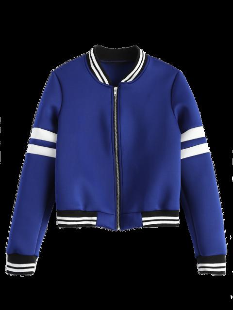 best Striped Sleeve Bomber Jacket - BLUE 2XL Mobile