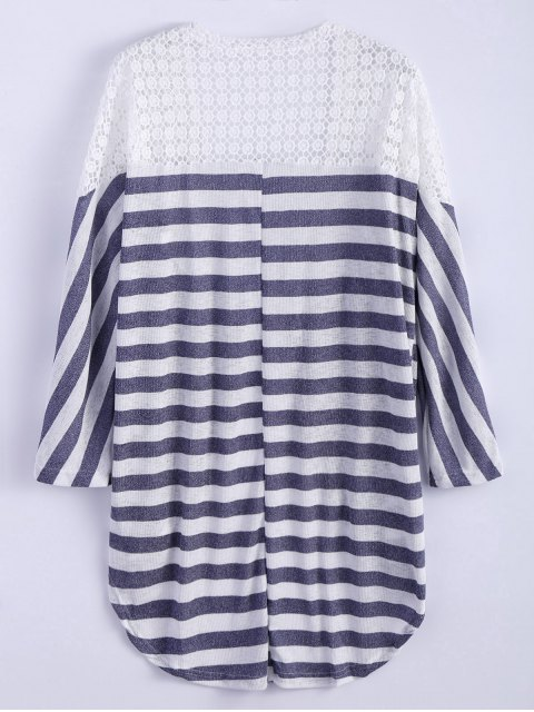 outfits Hollow Out Striped Cardigan - STRIPE S Mobile