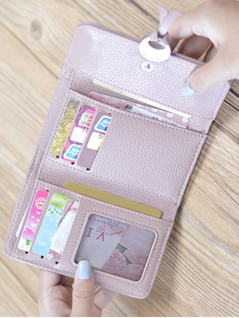 fancy Metal Embellished Tri Fold Small Wallet - DEEP GRAY  Mobile