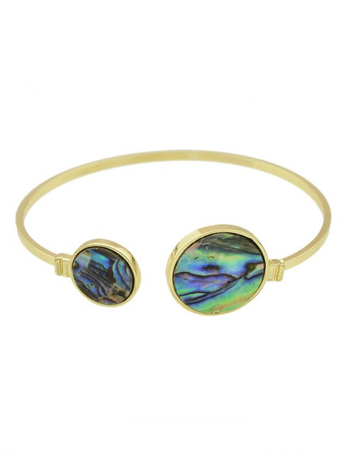 ladies Artificial Gem Circle Cuff Bracelet - GOLDEN  Mobile