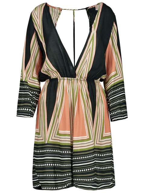 latest Striped Plunging Neck Romper - COLORMIX S Mobile