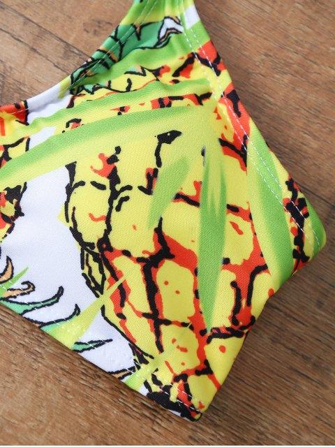 latest Pineapple Print Halter Padded Bikini - COLORMIX M Mobile