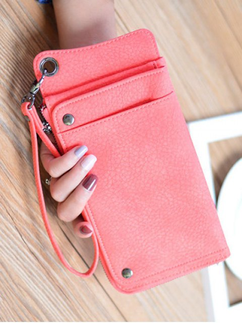 affordable Faux Leather Wristlet Wallet - WATERMELON RED  Mobile
