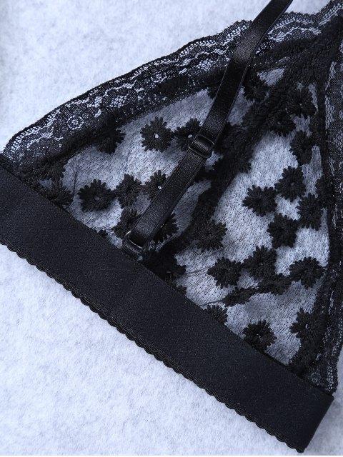 latest Embroidered Sheer Mesh Bra - BLACK M Mobile