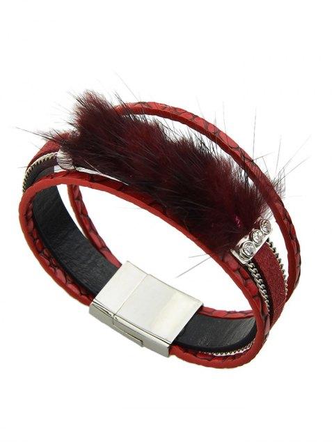 online Faux Leather Rhinestone Fuzzy Wrap Bracelet - RED  Mobile
