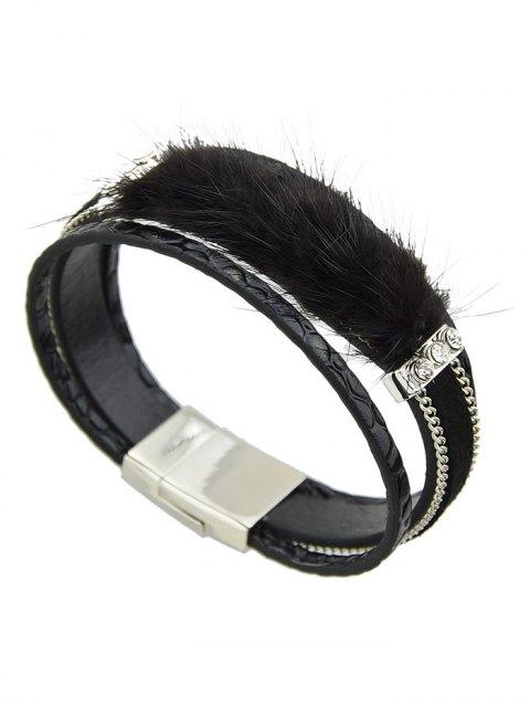 new Faux Leather Rhinestone Fuzzy Wrap Bracelet - BLACK  Mobile