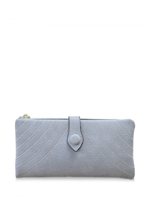 womens Stitching Tassel Clutch Wallet - GRAY  Mobile