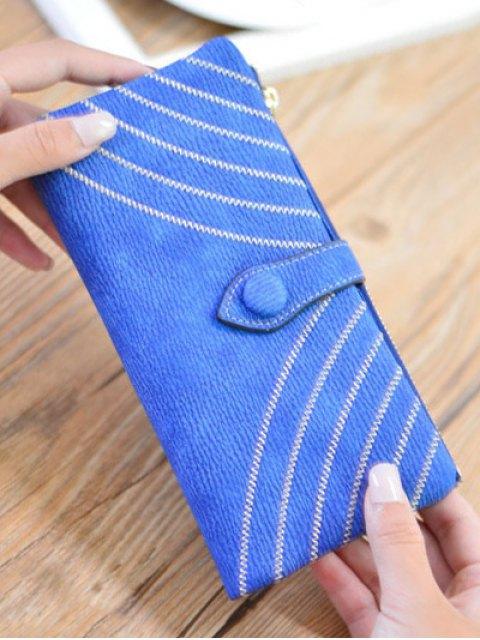 women Stitching Tassel Clutch Wallet - BLUE  Mobile