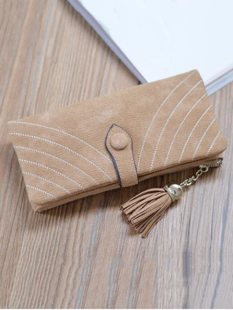 lady Stitching Tassel Clutch Wallet - LIGHT COFFEE  Mobile