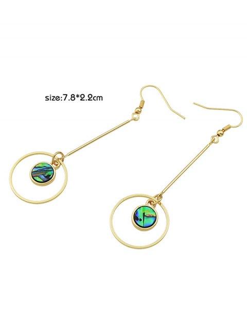 sale Faux Gem Circle Vintage Drop Earrings - GOLDEN  Mobile