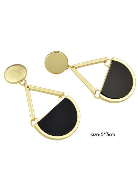 womens Vintage Geometric Circle Drop Earrings - GOLDEN  Mobile