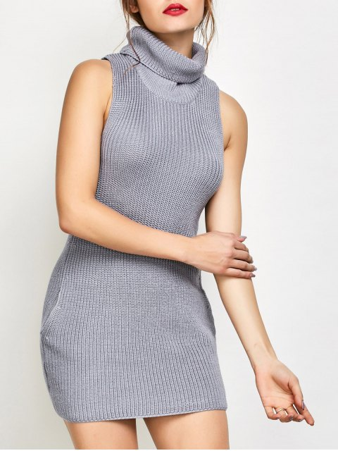 chic Sleeveless Turtle Neck Sweater Dress - GRAY M Mobile